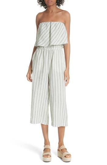 Womens Joie Brogan Stripe Linen Jumpsuit Size XSmall  Green