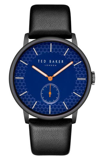 Ted Baker London James Leather Strap Watch, 43mm