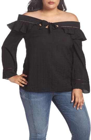 plus size women's lost ink ruffle tie off the shoulder top