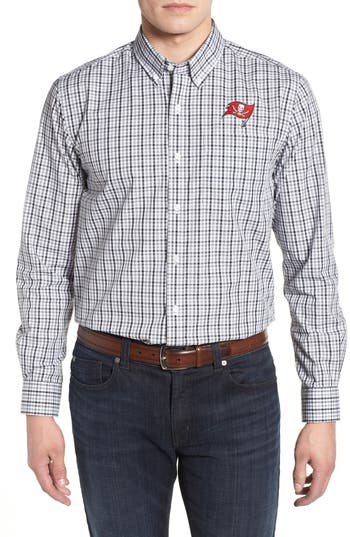 Men's Cutter & Buck Tampa Bay Buccaneers - Gilman Regular Fit Plaid Sport Shirt