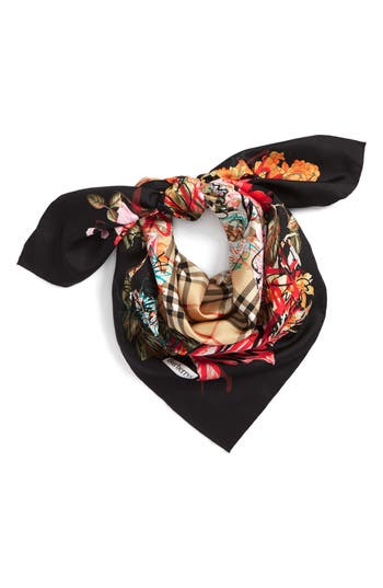 Burberry Floral Scribble Square Silk Scarf