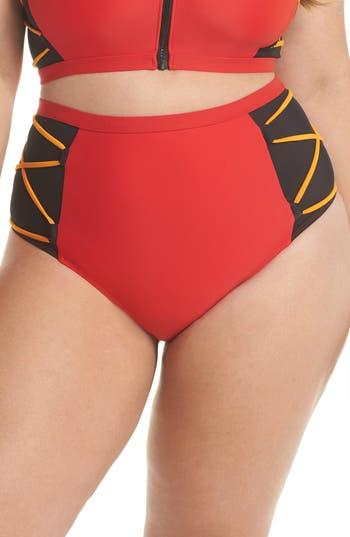 Plus Size Chromat Mesh High Waist Bikini Bottoms, Red