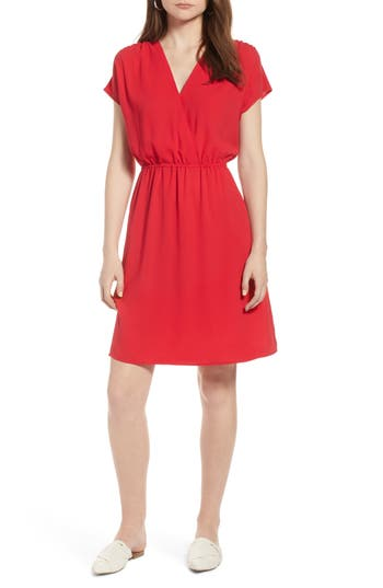 Women's Halogen Faux Wrap Dress, Size X-Small - Red