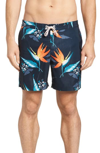 Original Penguin Floral Print Swim Shorts, Blue