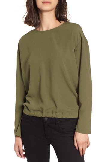 Women's Trouve Draped Back Tie Blouse, Size XX-Small - Green