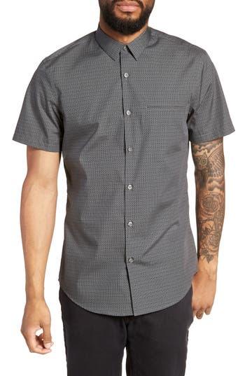 Men's Calibrate Trim Fit Print Short Sleeve Sport Shirt, Size Small - Black