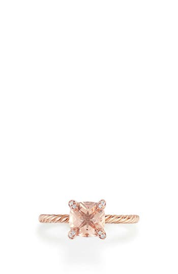 David Yurman Chatelaine Ring with Morganite and Diamonds in 18K Rose Gold