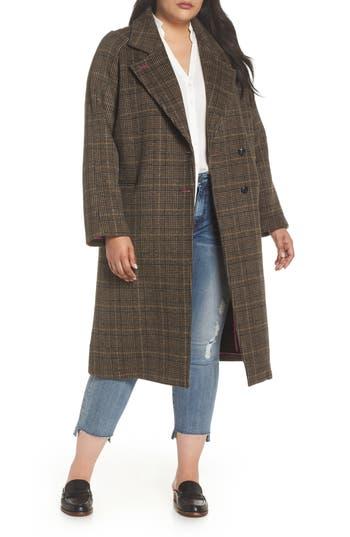 Plus Size Women's Avec Les Filles Double Face Plaid Wool Blend Coat