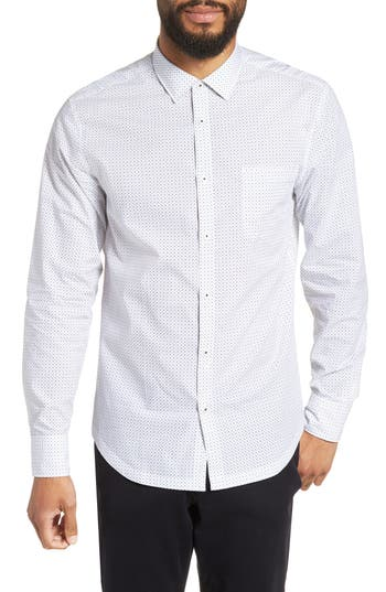 Men's Good Man Brand Slim Fit Zig Zag Print Sport Shirt
