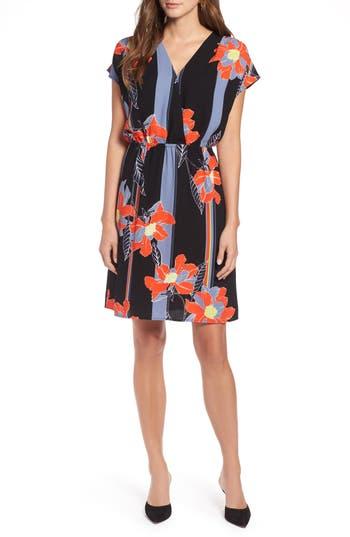 petite women's halogen faux wrap dress, size x-small p - black