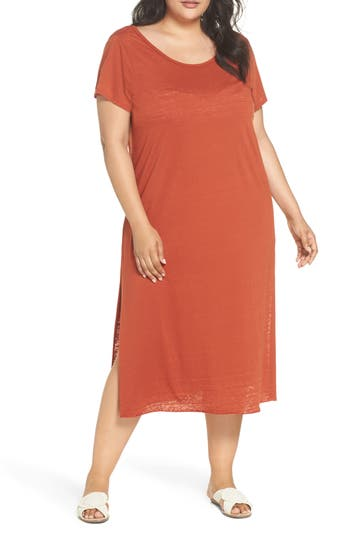 Leith Easy Burnout Cover-Up T-Shirt Dress