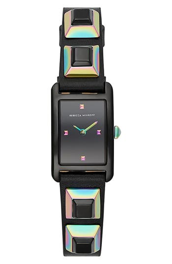 Rebecca Minkoff Moment Studded Leather Strap Watch, 19mm x 30mm