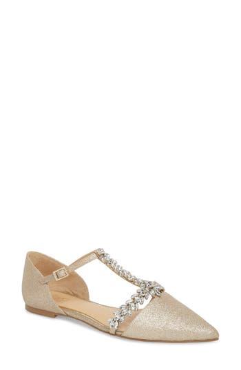 Badgley Mischka Maury Embellished T-Strap Flat (Women)
