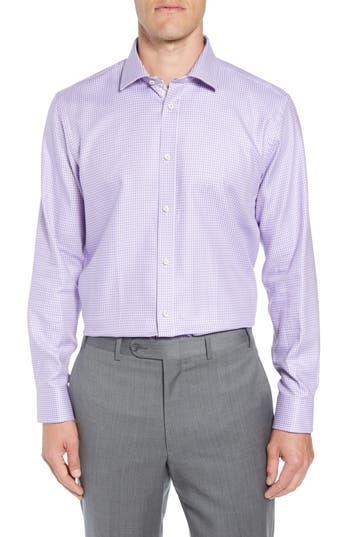 Men's Ted Baker London Franks Trim Fit Houndstooth Dress Shirt, Size 14.5 32/33 - Purple