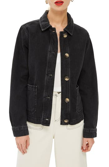Topshop Horn Button Denim Shirt Jacket