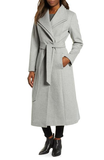 Kenneth Cole New York Double Lapel Wool Blend Wrap Coat