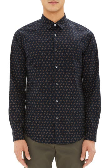 Men's Theory Irving Regular Fit Crown Print Sport Shirt, Size Small - Blue