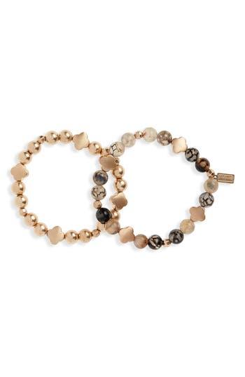 Canvas Jewelry Set of 2 Bead & Stone Bracelets