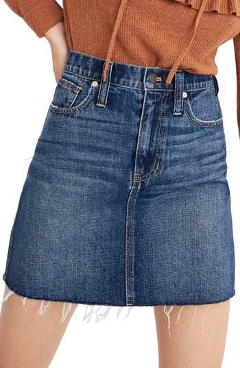 Women's Madewell Reworked Rigid Denim Straight Miniskirt, Size 23 - Blue