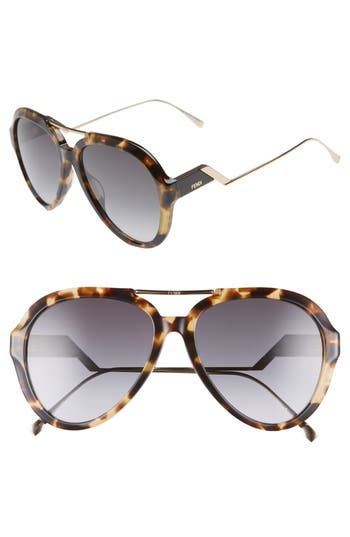 Fendi 58mm Aviator Sunglasses
