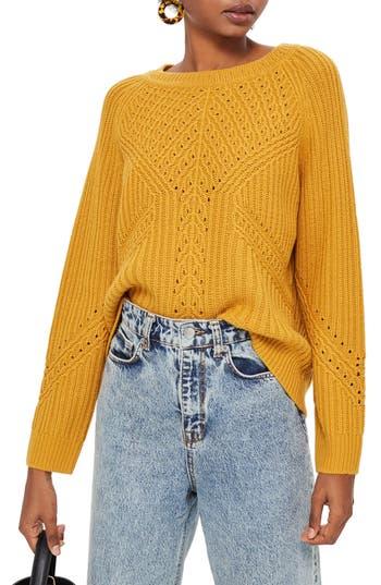 Topshop Rib & Pointelle Stitch Sweater