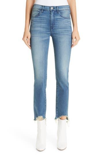 3x1 NYC Distressed Hem Authentic Straight Leg Jeans