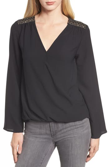 Gibson x Glam Squad Embellished Shoulder Top