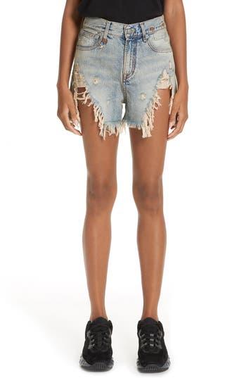 R13 Shredded Slouch Denim Shorts