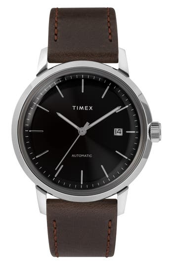 Timex® Marlin Automatic Leather Strap Watch, 40mm