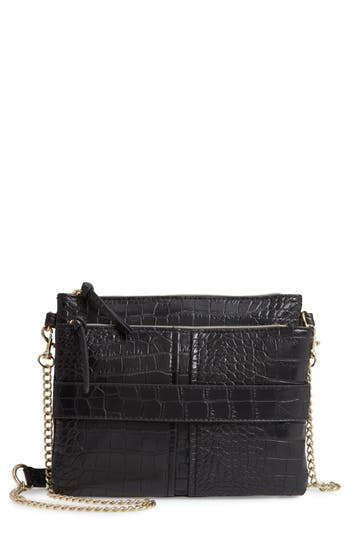 Leith Croc Embossed Double Pouch Crossbody Bag