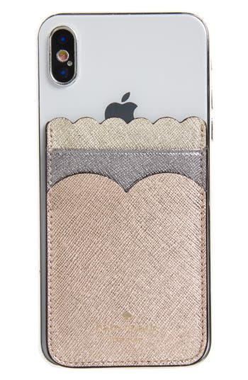 kate spade new york phone triple sticker scalloped glitter pocket