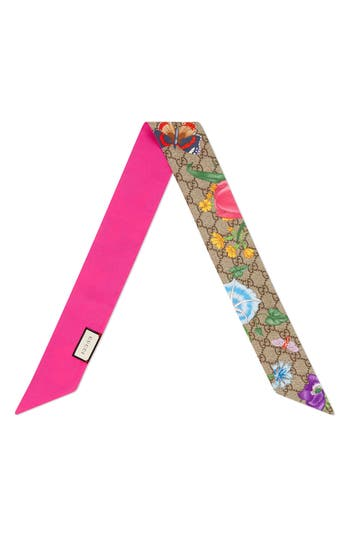 Gucci Flora Fluorescent Silk Neck Bow