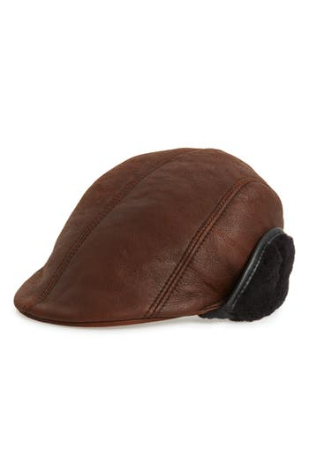 Crown Cap Genuine Shearling Leather Driving Cap
