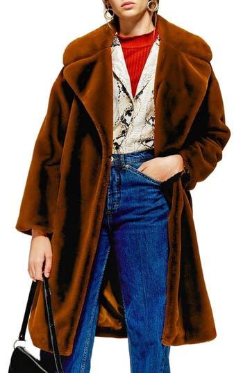 Topshop Bella Velvet Faux Fur Coat