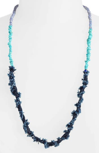 Mikia Bead & Denim Necklace