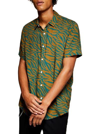 Topman Zebra Stripe Print Shirt