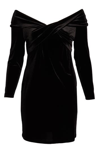Vince Camuto Twist Front Stretch Velvet Dress