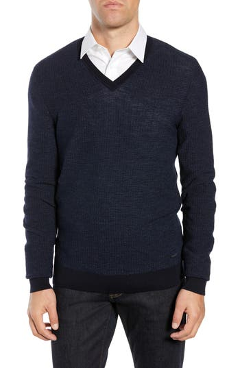 BOSS Emauro Mouline V-Neck Slim Fit Sweater