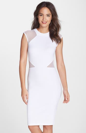 women's french connection 'viven' mesh inset body-con dress, size 6 - white