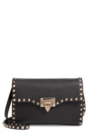 VALENTINO GARAVAN Medium Rockstud Leather Shoulder Bag