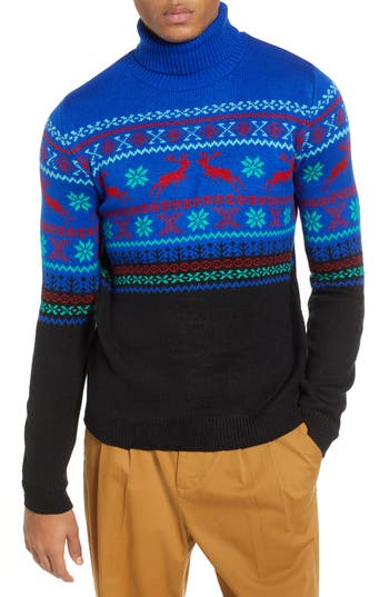 Topman Reindeer Fair Isle Turtleneck Sweater
