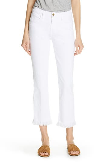 FRAME Le High Frayed Hem Ankle Straight Leg Jeans (Blanc)