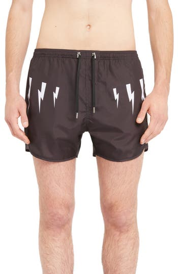 Neil Barrett Thunderbolt Print Swim Trunks