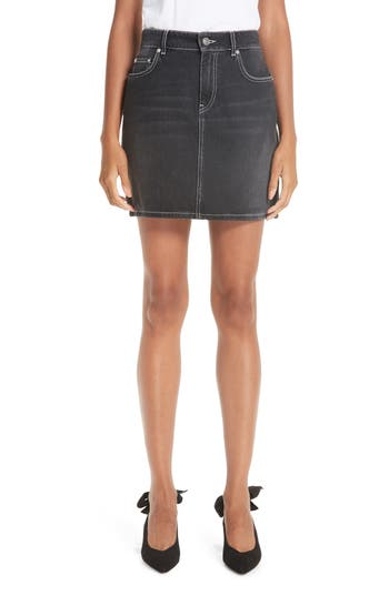 Ganni Black Washed Denim Miniskirt