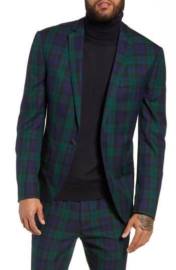 Topman Plaid Slim Fit Suit Jacket