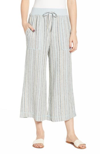 BP. Stripe Crop Linen Blend Pants
