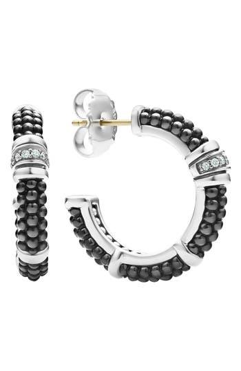 LAGOS Black Caviar Diamond Hoop Earrings