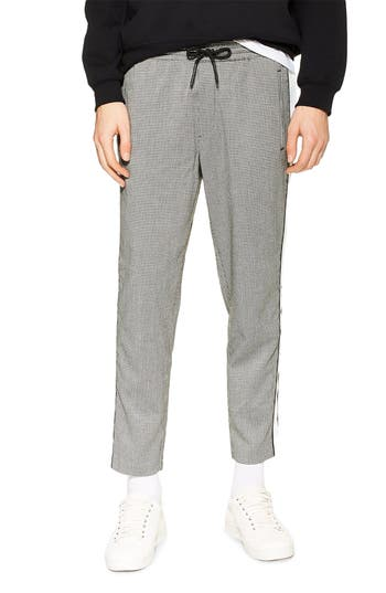Topman Marc Check Side Stripe Crop Track Pants