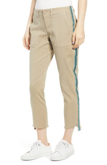 Pam & Gela Uniform Side Stripe Step Hem Stretch Cotton Pants