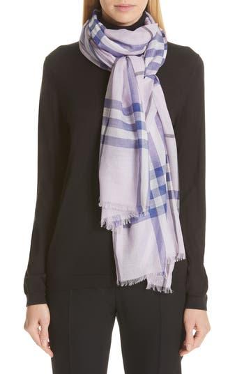 Burberry Giant Check Wool & Silk Gauze Scarf
